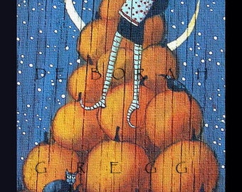 Count Your Blessings  a Small Witch Pumpkin Halloween PRINT by Deborah Gregg