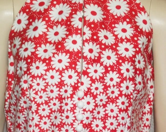 Vintage 1960's Howard Wolf Red Daisy Daisies Sundress Dress Medium