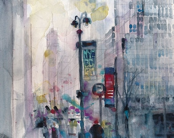 42 Street,  New York City - Archival or Giclee Print from Original Watercolor - Living Room Midtown