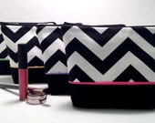 Makeup Bag - Set of Four Bridesmaid Gift Bags, Cosmetic Case, Make Up Case, Wedding Party Gift, Travel Bag in Zig Zag Chevron Fabric