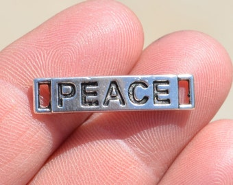 5 Silver PEACE Connector Charms SC1717