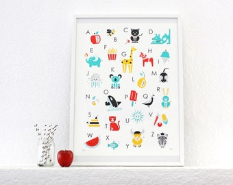 Alphabet Print, Poster, Screenprint, Nursery Art, Kids Room