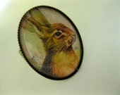 Bunny ring, adorable brown rabbit in oval brass setting