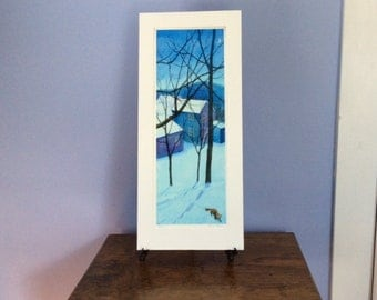 Fox by Night limited edition giclee print of a wintry scene
