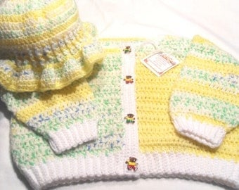 Girls Crocheted Sweater and Ruffled Hat with Teddy Bear Buttons