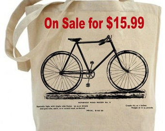 Tote bag - canvas tote bag - shopping bag - grocery bag - totes  - Canvas tote bag - Vintage Bicycle Tote bag - recycled -  bike - bicycle