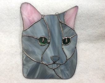Russian Blue Cat Stained Glass Sun Catcher