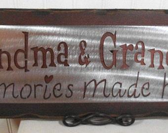 GRANDMA and GRANDPA'S Memories made HERE- Wall hanging - plaque - sign- Retirement gift - Grandkids- Nana- Papa - grandkids