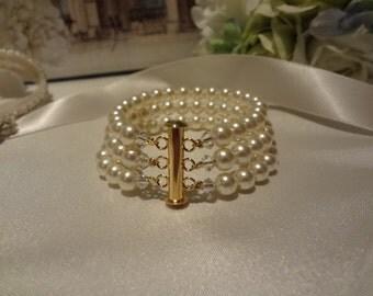 3 strand cuff, Bridal Pearl Bracelet, Bridesmaid jewelry,  bridal jewelry, Gold pearl bracelet