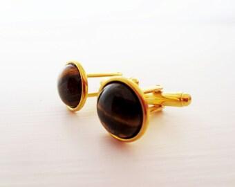 Tiger eye cuff links. Gold cuff links. Bezel cuff links. Tiger eye accessory.  French cuff shirt. Brown cuff links. Stone cuff links.