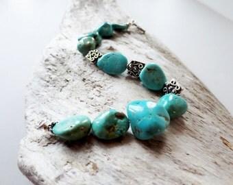 Chunky turquoise bracelet.  Genuine turquoise.  Bali silver.  Silver turquoise bracelet.