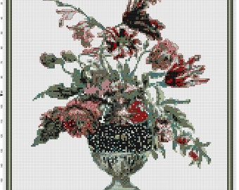 Floral Elegance Original Cross Stitch Pattern Xstitch Instant Digital Download