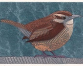 Carolina Wren Art Print, Original Collograph of Small Chunky Bird, Carolina Wren