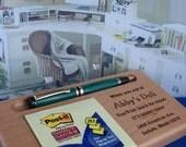 50% OFF,  Desk Set, Desk, Note Pad Holder, Pen Holder, Wood Standard, Engraved, Personalized Engraving