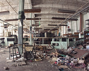 Dark Urban Decay Photography, Abandoned Sewing Factory Fine Art Photograph, Architecture Building Interior, Colorful Industrial Masculine