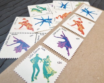 Dance .. Dance ... Dance .. UNused Vintage Postage Stamps  .. post 5 letters