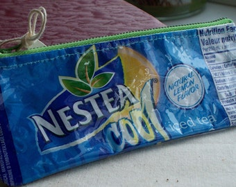 Upcycled Nestea COOL soda pop wrapper Repurposed into a SWEET usable coin purse with swivel lobster clasp