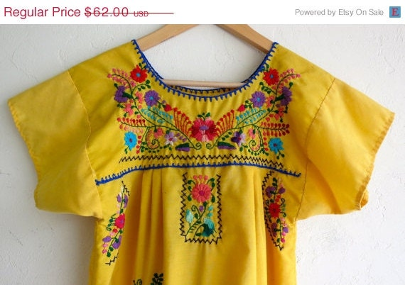 SPLASHIN 50% OFF Yellow Embroidered Mexican Shift Dress