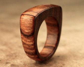 Size 6 - Flat Top Tamboti Wood Ring No. 131