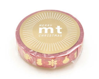 mt Christmas Washi Masking Tape - Motif in Red & Gold