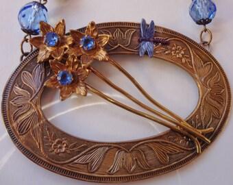 Antique Art Nouveau Necklace--Sky Blue Crystals