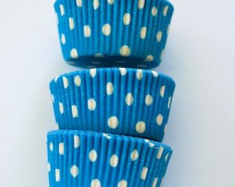 Ocean Blue Polka Dots Cupcake Liners (50 Liners)
