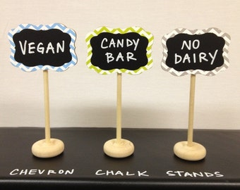 4 Chevron Mini Chalkboard Stands with Chalk Labels, Food Buffet Labels, Wedding Chalkboards, Chalkboard Place Settings, 26 Colors to Choose