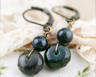 Moss rondelle earrings - agate and chalcedony