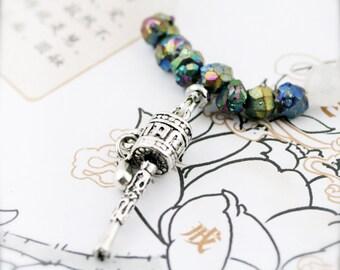 Prayer wheel (unisex) necklace -  titanium aura quartz, jade and pyrite
