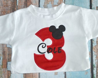 Red Mickey Mouse Birthday Shirt, Boys Mickey Mouse Birthday Shirt, Boys Birthday Shirt