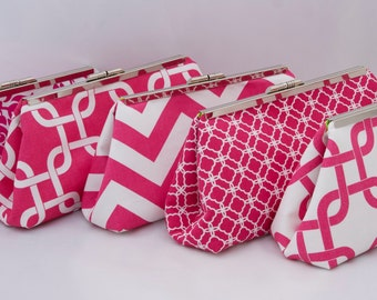 Wedding Party Gift in Hot Pink Custom design your own Clutch or set of clutches as Bridesmaids Gift