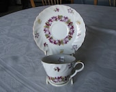 Lefton China Hand Painted February Violets Cup And Saucer Gold Trim
