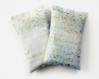 Metallic Gold Dot Lavender Sachets, Gifts for Girlfriend, Organic Fragrance for Modern Bedroom Decor, Ice Blue