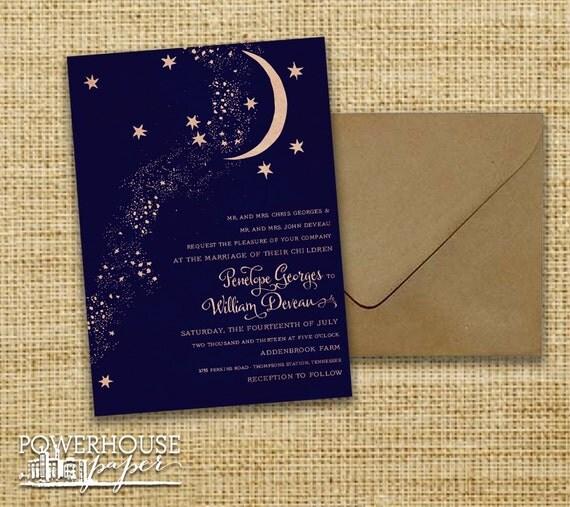 Rustic Kraft Moon & Stars Wedding Invitation
