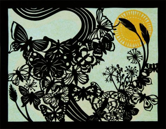 image papercut scherenschnitte rural pearl butterflies sun