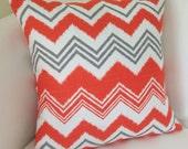 Orange Pillow Cover Decorative Throw Chevron Pillow Cushion 16x16 Inch Orange Gray Accent