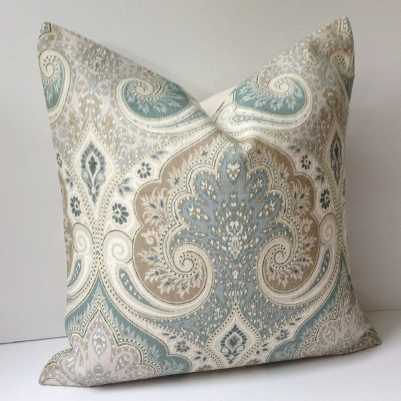 Damask Pillow Cover Decorative Throw Pillow Seafoam Cushion