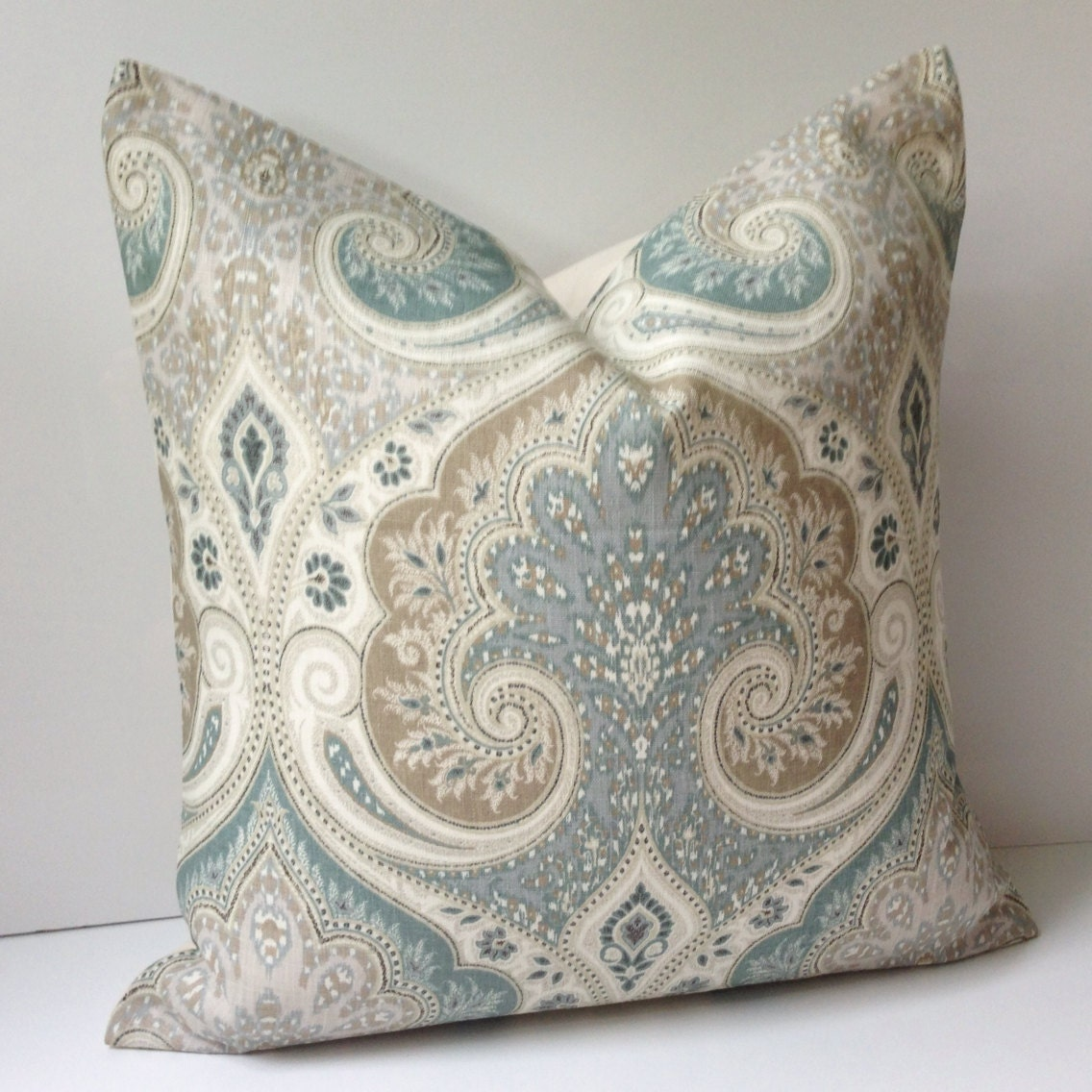 Damask pillow cover decorative throw pillow seafoam cushion - Decorative throw pillows ...