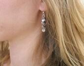 Matte Silver Disc Dangle Earrings on Sterling Silver Wire