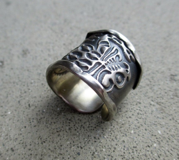 jaguar ring mayan symbol sterling silver adjustable