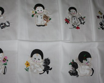 Lil Perrot Mime Machine Embroidered Quilt Blocks Set A