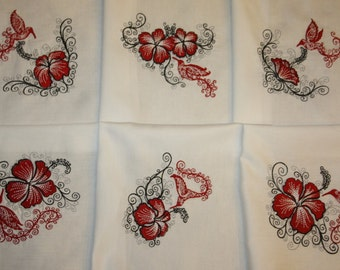 Red Hummingbirds and Hibiscus Machine Embroidered Quilt Blocks Set B