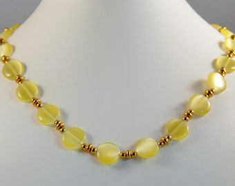 Yellow Cats Eye Necklace