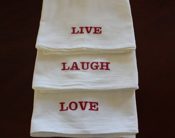 Items Similar To Live Laugh Love Embroidered Bath Towels