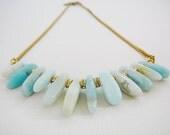 Statement Necklace, Vintage Brass Chain Amazonite Gemstone rhinestone rondel