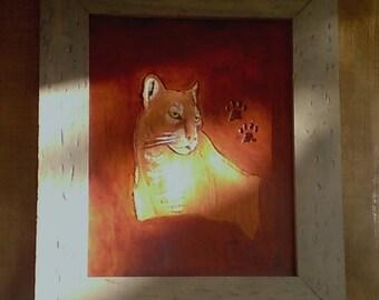 Handmade Sculptured 3-D LEATHER ART  Mountain Lion  Antique Pine Frame