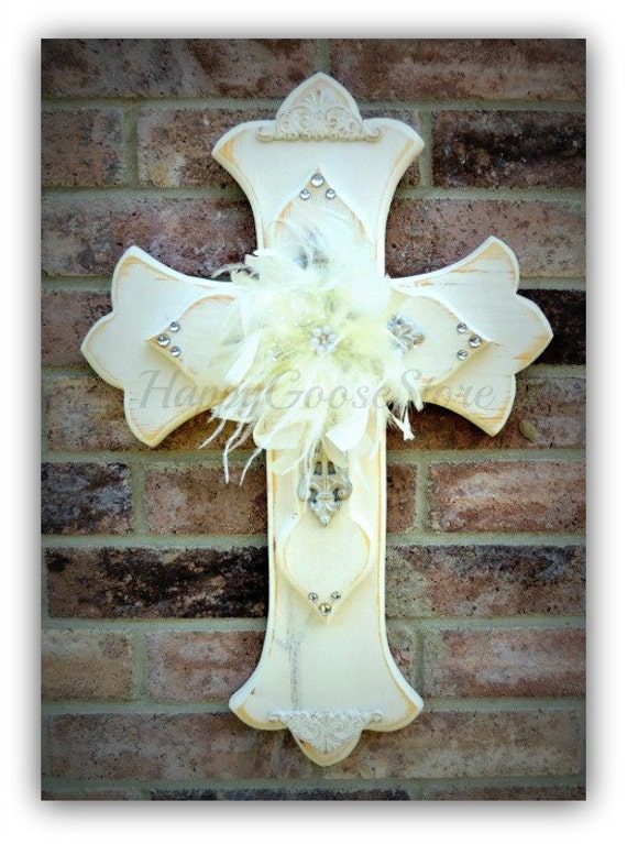 """Medium Wall Cross - Antiqued White """"Shabby Chic"""" with feathers and rhinestones"""