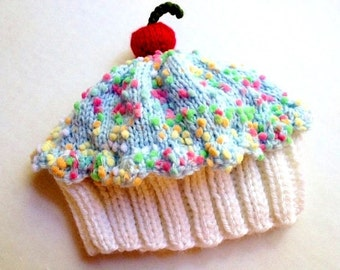 Handmade hand knit Cupcake Hat with Cherry on Top Marshmallow Cream Cake Blueberry Frosting with Sprinkles Adult Children Baby Toddler