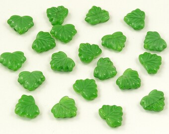 Czech Glass Satiny Green Maple Leaf Beads 12mm - 10