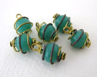 Vintage Glass Bead Drops Jade Green Brass Wire Wrapped Charms vgb0623 (6)